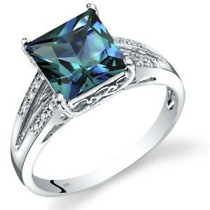 14K White Gold Created Alexandrite Diamond Ring Princess Cut 3 Carats Size 7