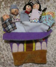 vintage finger puppets family on a house glove mother father baby grand parents