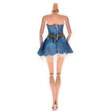 Special Barbies Dresses Blue Hanging Neck Dresses for Barbies Princess Dolls*