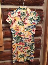 EUC Vintage Limited America Hawaiian Shirt Dress XS Extra Small Palm Trees Beach