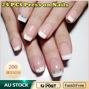 Press On Nails Glue Gel On False reusable Fake French Nail Tip solid color 24pcs