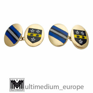 Manschettenknöpfe Emaille Wappen Heraldik vergoldet cuff links enamel 🌺🌺🌺🌺🌺