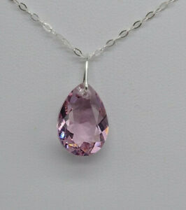 Sterling Silver Swarovski Crystal Facet 16mm Pear Cut Pendant Necklace 9 Colors
