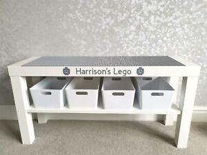 LEGO Table Grey Base Plates Organised Storage Play Set Up Personalised
