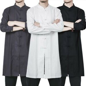 New Men Chinese Traditional Tang Suit Tai Chi Cotton Linen Coat Kung Fu Uniform