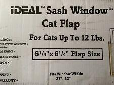 "Ideal Sash Window Cat Flap Up to 12 lbs 6 1/4"" x 6 1/4"" Window Width 27"" - 32"""