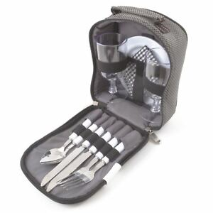 2 Person Picnic Set Bag Camping Dining Plates Forks Spoons Plastic Wine Glasses
