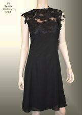 SL FASHIONS NY Women Dress SHEER Size 12 BLACK LACE Knee Sleeveless Dressy NWT