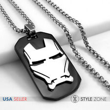 Stainless Steel Super Heros Avengers Iron Man Mask Dog Tag Pendent Necklace 14P