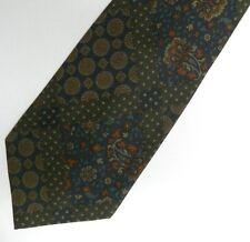 "Green Blue Patch Cotton Tie 3.9"" Wide 58"" Long"