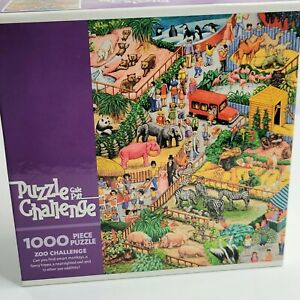 """Zoo Challenge Gail Pitt 1000 Piece Jigsaw Puzzle 20""""x27"""" by Ceaco 2005 Sealed"""