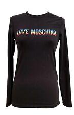 LOVE MOSCHINO BLACK LONG SLEEVE T-SHIRT WITH RAINBOW LOGO, 6, $495