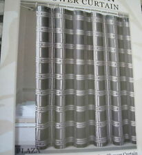 PLAZA BLACK TAUPE CHECK FABRIC SHOWER CURTAIN NEW