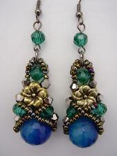 Blue Green Gemstone Agate Crystal Dangle Earrings