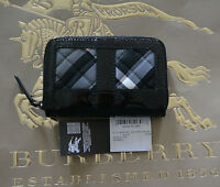 NWT BURBERRY BURNHAM CHECK PATENT LEATHER WALLET COIN CASE MADE IN ITALY