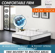 Double Queen King Single Size Mattress Bed Pocket Spring Firm 24cm High Density