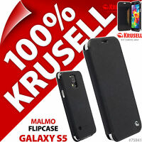 New Krusell Malmo Flip Case For Samsung Galaxy S5 Plain Black Cover Wallet Folio