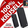 New Krusell Malmo Flip Case For Samsung Galaxy S5 Plain Black Cover Wallet Folio