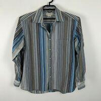 J. Crew Mens Shirt Size L Cotton Striped Multicolor Long Sleeve Brown Blue
