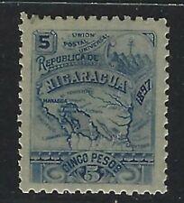 1897 Nicaragua Scott #98 - 5 peso Map of Nicaragua - MH
