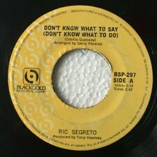 """RIC SEGRETTO Don't Know What to Say / Angela PHILIPPINES OPM 7"""" 45 Records"""