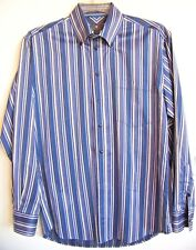 Men's TOSCANO 100% Cotton Blue Ombre-Striped L/S Button-Down Dress Shirt L