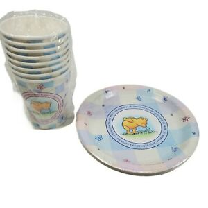 Disney Classic Winnie the Pooh Garden Baby Shower Piglet Paper Plates Cups NOS