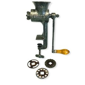 Griswold Manufacturing Cast Iron Meat Grinder No.12 3 Attachments & Vise Base