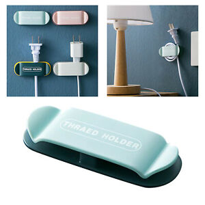 Cable Tidy Clips Organiser Desk USB Charger Cables Plug Holder Self-Adhesive