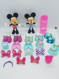 Disney Minnie Mouse Bowtique Dress Up Snap On Clothes Accessories Lot of 3 dolls