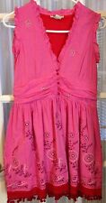Blue Plate Pink With Pom Pom Ball Trim Smocked Bodice Cotton Dress S Embroidered