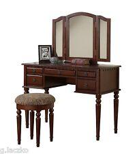 Vanity Set Mirror Desk Table Dresser Bench Stool Cherry Drawer Wood Fabric New