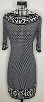 Ladies MAX STUDIO MAX MARA Black White Stone Patterned Tunic Dress Medium 12 14