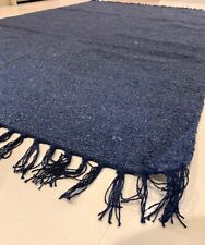 ECO Friendly Plain NAVY BLUE Recycled Cotton Rich Kilim Washable Reversible Rugs