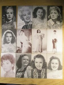 12 MOVIE STAR EXHIBIT ARCADE CARDS 1940S-50S GRABLE, PETERS, DURBIN, JEAN, ETC