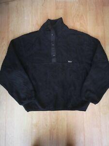 Vintage woolrich fleece jacket jumper sweater S/M men's outdoors black popper