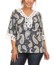 Colette Collection ladies top plus size US 2XL UK 18/20 navy paisley crochet