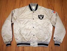 NFL Vintage Silver Oakland Raiders STARTER Size L Satin Jacket