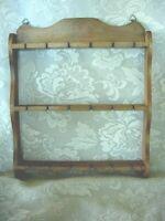 Vintage MidCenturyModern Wood Spoon Rack-Holds 18 Collectible Spoons-Estate Item