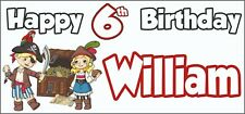 Pirate 6th Birthday Banner x 2 - Party Decorations - Personalised ANY NAME