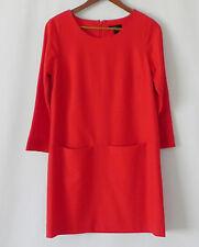 New J.Crew Dress Wool Red 3/4 Sleeve Shift Pockets Size 0