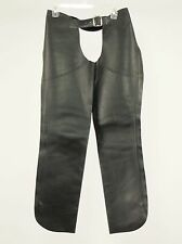 1990s Vintage Leather Black-Silver Shotgun Motorcycle Chaps Womens Small S