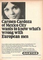 1967 Original Advertising' Vintage Qantas Airlines Australia Carmen Cardoza