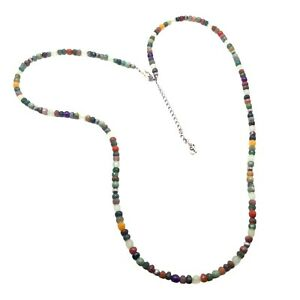 Carolyn Pollack sterling silver multi gemstone bead necklace long 925 moonstone