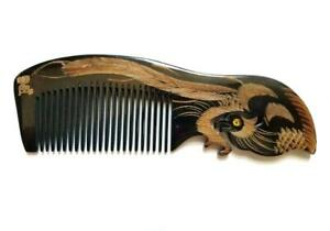 Handmade Dark Color Buffalo Horn Comb and Massage Tool (Zhao) with 2 Phoenixes