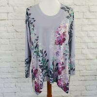 Soft Surroundings Long Sleeve Asymmetrical Top Womens Petite Large Floral Tunic