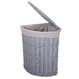 Wickerfield Lidded Grey Wicker Corner Laundry Basket  Bathroom with Cotton Liner
