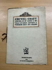 """RARE ANTIQUE """"CREWEL-CRAFT"""" BY ROBERSONS OF KNIGHTSBRIDGE ILLUSTRATED BOOK (LL)"""