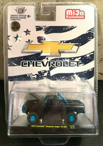 M2 Machines CHASE Blue Stars & Stripes '73 Chevy Cheyenne Super 10 4x4 MJS34
