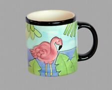 3 Large Tropical Handpainted Flamingo Colorful Mugs by Hausenware HTF Dated 2001